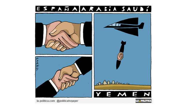 Un barco con armamento para Arabia Saudí que seguirá torturando las vidas de civiles de Yemen salió del puerto de Santander. ¿Es partícipe España de crímenes contra la Humanidad? Artículo Simone Renn Viñeta Eneko