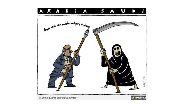 Ser periodista en Arabia Saudí. A Khashoggi. Viñeta de Eneko.