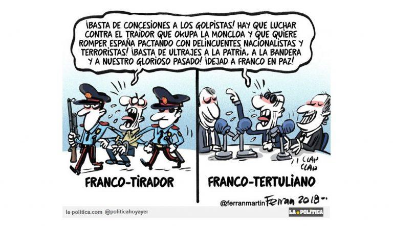Un francotirador planeaba un atentado contra el presidente del Gobierno, por la exhumación de Franco Viñeta Ferran Martín Artículo Simone Renn