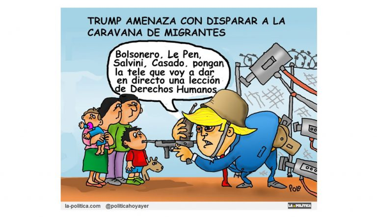 El 12 de octubre comenzó el éxodo de Centroamérica hacia Estados Unidos Artículo Simone Renn Viñeta Polo