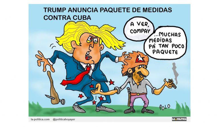 Trump lanza nuevas sanciones contra Cuba. Hoteles administrados por una empresa española se ven afectados por las medidas Viñeta Polo Artículo Simone Renn