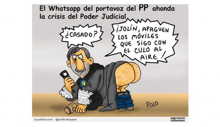 La filtración de un mensaje del grupo de Whatsapp de los senadores del PP hace tambalear la credibilidad de la Justicia en España Viñeta Polo Artículo Simone Renn