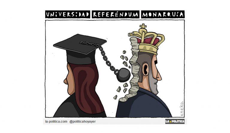 La universida se mueve para cuestionar la monarquía. Viñeta eneko.