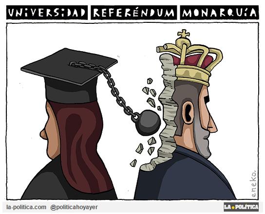 Se celebran referendos sobre República o Monarquía en más de la mitad de las universidades públicas de España Viñeta Eneko Artículo Simone Renn