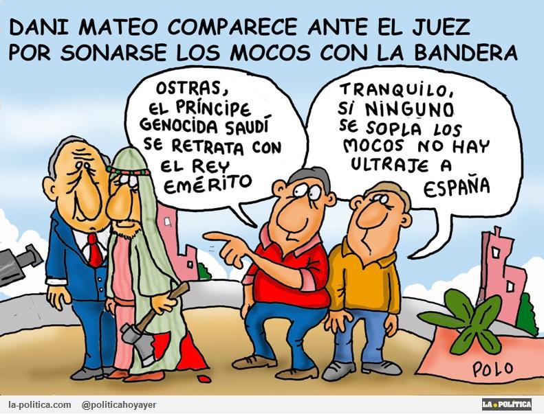 """Dani Mateo comparece ante el juez por su """"sketch"""" con la bandera de España Viñetas de El Koko y Polo Artículo Simone Renn"""