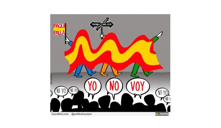 21 descalificaciones y una manifestación con gran bandera pretenden tapar que Rajoy ganó las generales de 2011 con facturas falsas y pagos ocultos Viñeta Artsenal Artículo Simone Renn