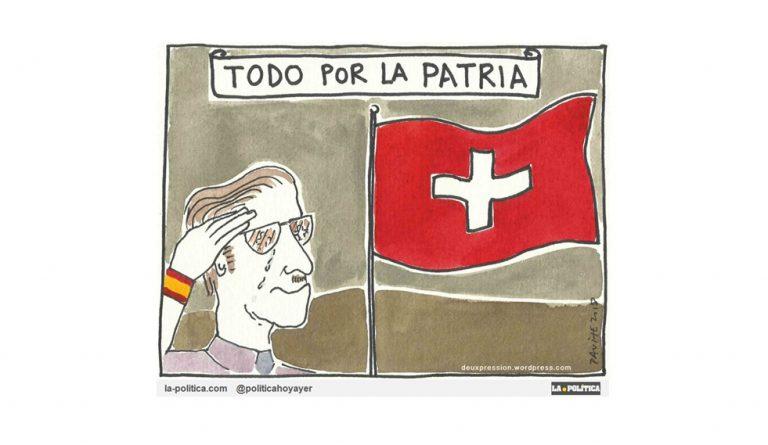 Los piratas del siglo XXI en España se cubren con la bandera española, mientras llevan sus saqueos a los países en los que ondean banderas de paraísos fiscales. Viñeta Deuxpression