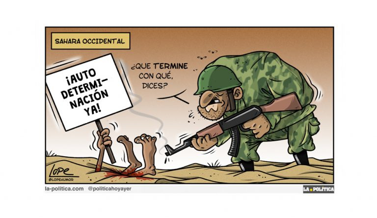 «El Frente Polisario proclama la República Árabe Saharaui Democrática» Viñeta Lope Artículo Víctor Arrogante