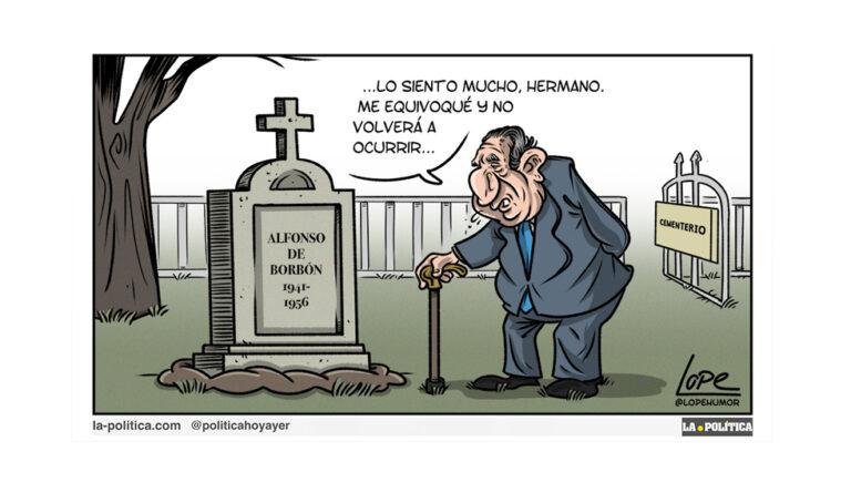 Juan Carlos, Alfonso y el accidente Viñeta Lope Artículo Víctor Arrogante