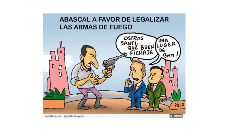 Vox defiende el uso de armas en España mientras la ciudadanía de países como EE.UU o Nueva Zelanda buscan su restricción Viñeta Polo Artículo Simone Renn