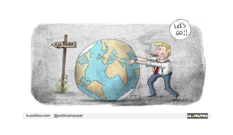 Muchos dirigentes actuales continúan negando el cambio climático, si les dejamos nos llevarán al desastre medioambiental Viñeta El Koko