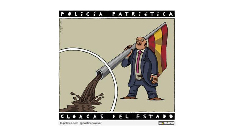"""""""Algo huele a cloaca en nuestra democracia"""". Viñeta Eneko, artículo Caracola"""