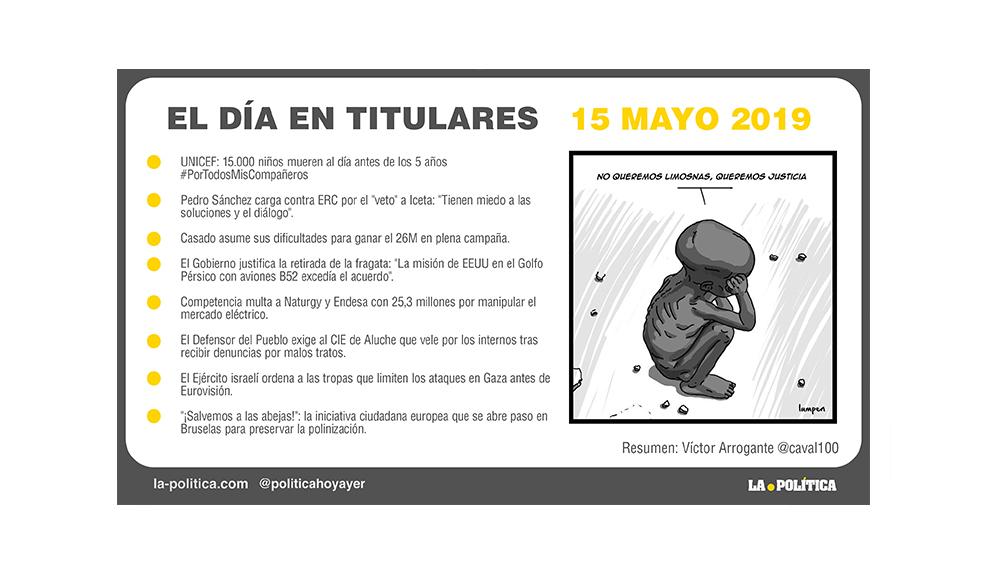 15 mayo – 2019 El Día en Titulares