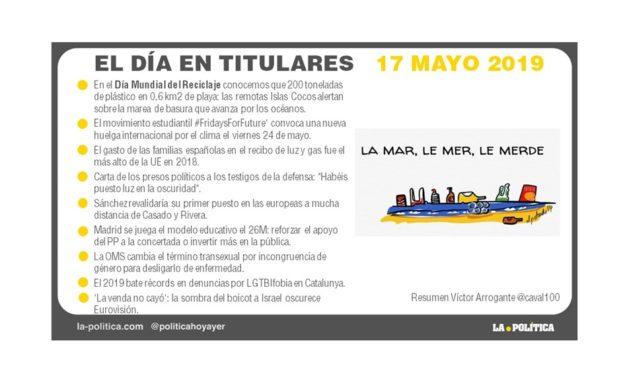 17 mayo – 2019 EL Día en Titulares