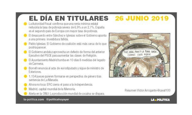 26 junio de 2019 – El Día en Titulares
