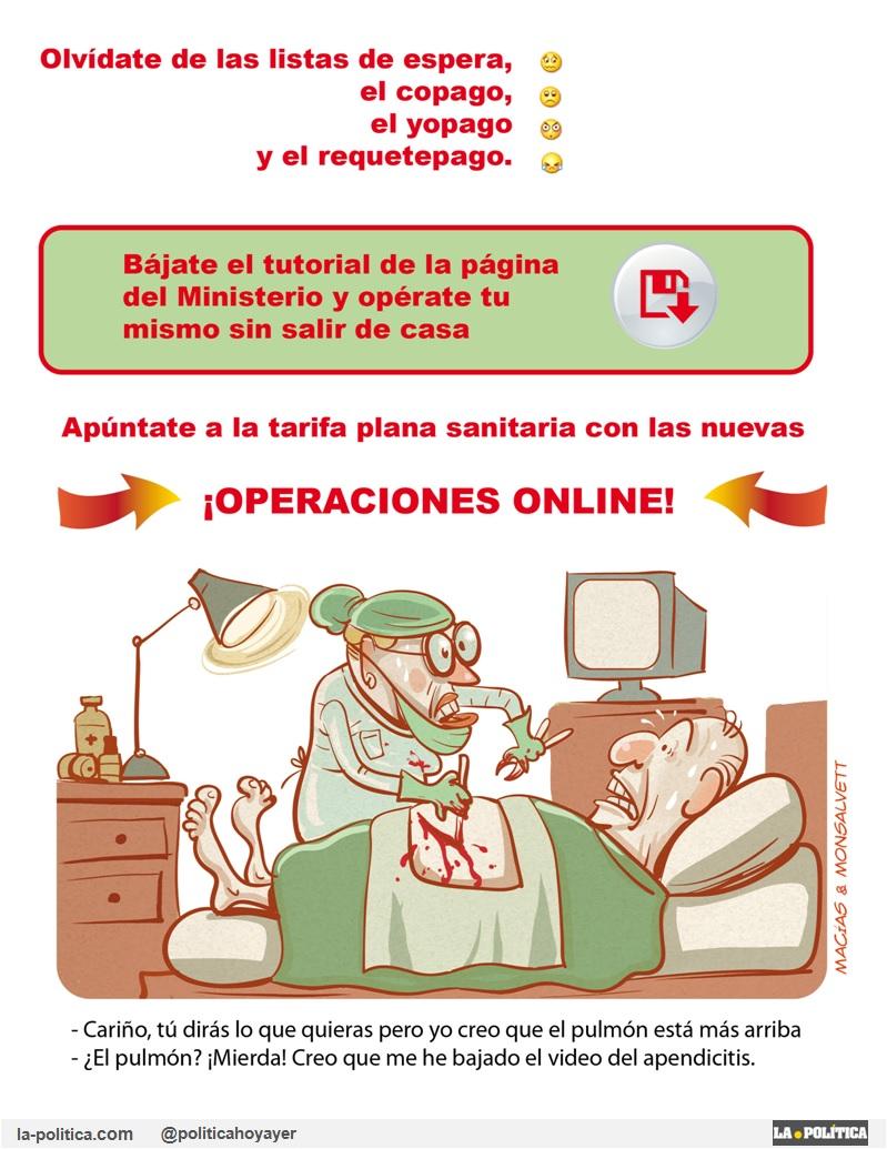«Dos días después de la 81 #MareaBlanca en Madrid llega la denuncia de que la sanidad madrileña adjudica el 99,7% de los contratos a dedo» Viñeta Macías y Monsalvett Artículo Simone Renn #81MareaBlanca