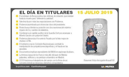 15 julio de 2019 – El Día en Titulares