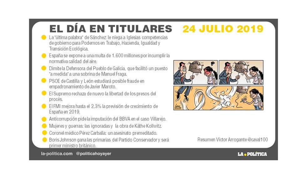 24 julio de 2019 – El Día en Titulares
