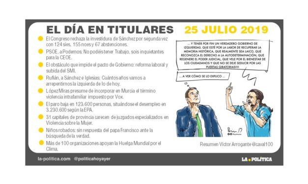 25 julio de 2019 – El Día en Titulares