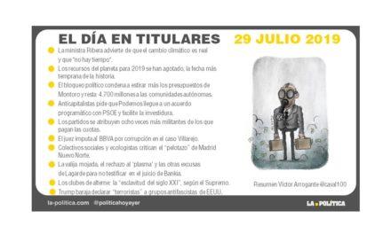 29 julio de 2019 – El Día en Titulares
