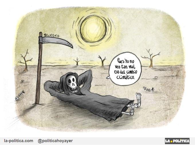 -Pues yo no veo tan mal lo del cambio climático. (Viñeta elkoko)