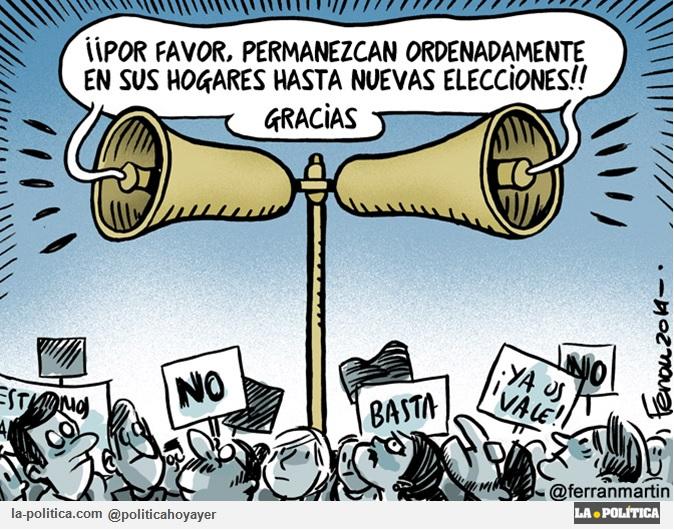 ¡¡Por favor, permanezcan ordenadamente en sus hogares hasta nuevas elcciones!! Gracias (Viñeta Ferran Martín)