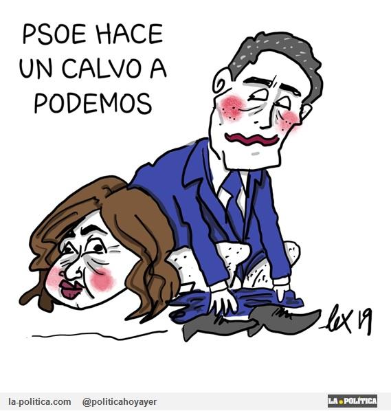 """PSOE hace un """"calvo"""" a Podemos. (Viñeta Lex Guión Ángel Mentor)"""