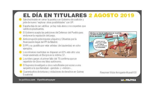 2 agosto de 2019 – El Día en Titulares