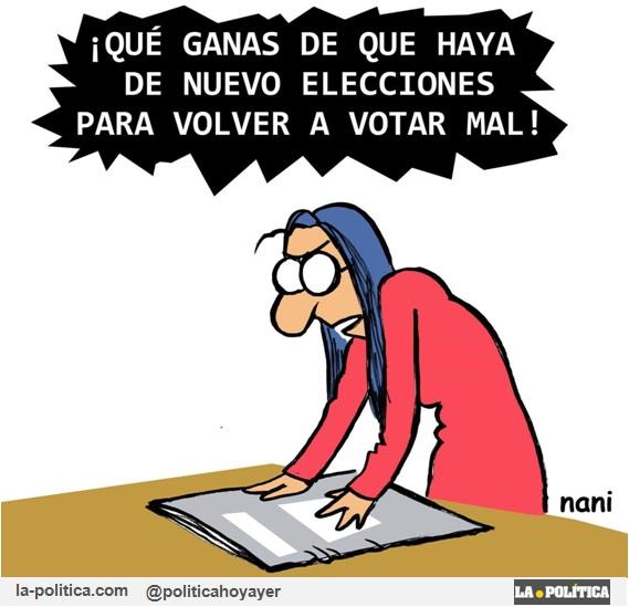 ¡Qué ganas de que haya de nuevo elecciones para volver a votar mal! (Viñeta de Nani)