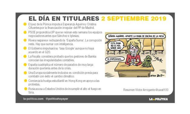 2 septiembre de 2019 – El Día en Titulares