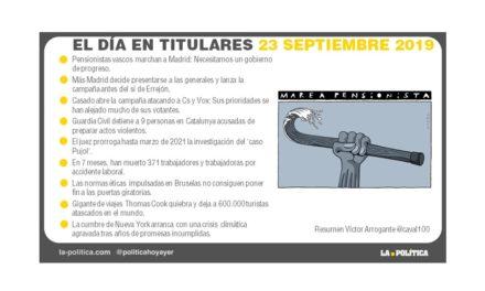 23 de septiembre de 2019 – El Día en Titulares