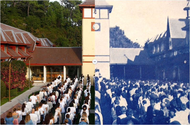 Performance del 13 de septiembre en las Caballerizas del Palacio de la Magdalena a la izquierda, organizado por La Vorágine en. A la derecha republicanos en el que fue campo de concentración del franquismo 1938.