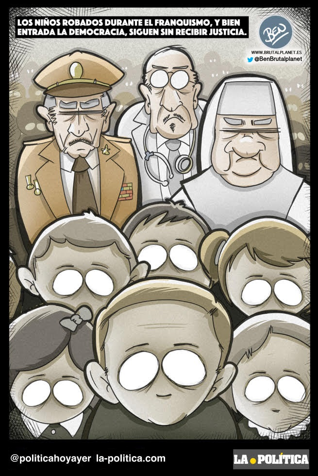 Los niñs robados durante el franquismo y bien entrada la democracia, siguen sin recibir justicia. (Viñeta de Ben)