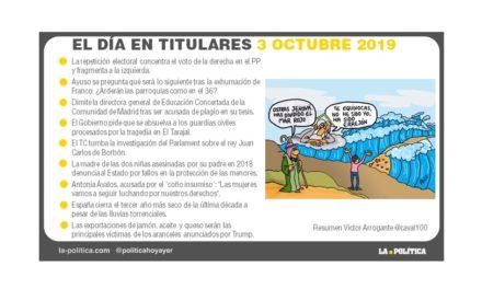 3 de octubre de 2019 – El Día en Titulares