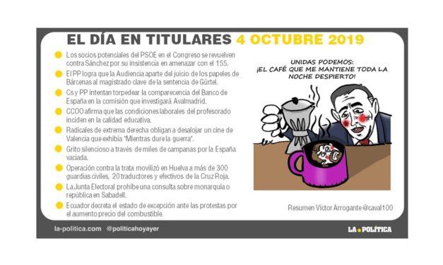 4 de octubre de 2019 – El Día en Titulares