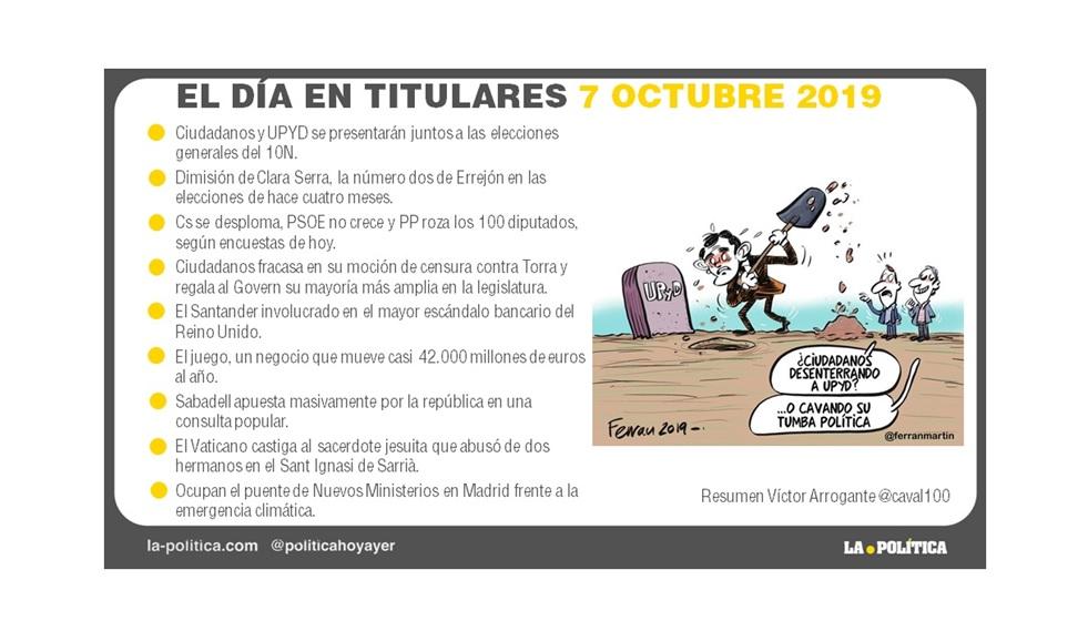 7 de octubre de 2019 – El Día en Titulares