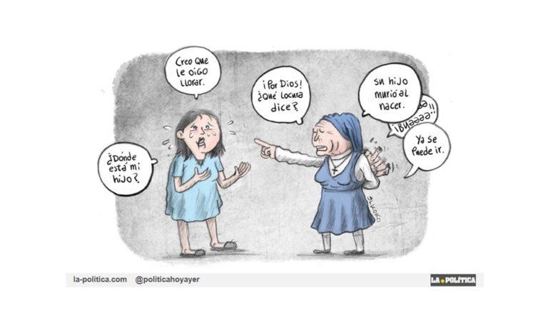 Consiguen que se celebre el juicio del segundo caso de bebés robados, ante la indiferencia durante años de Iglesia y Estado a pesar de indicaciones de la UE. Viñeta Elkoko Artículo Pedro Centeno