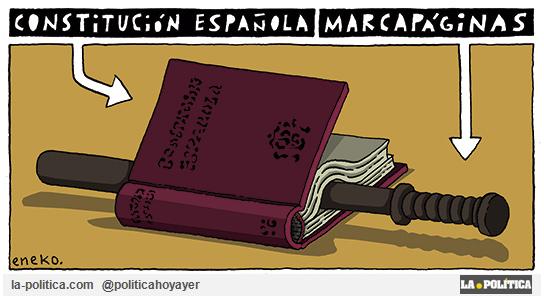 Constitución Española. Marcapáginas. (Viñeta de Eneko)