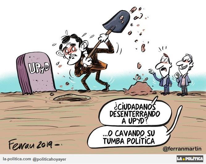 - ¿Ciudadanos desenterrando a UPYD? ...O cavando su tumba política. (Viñeta de Ferran Martín)