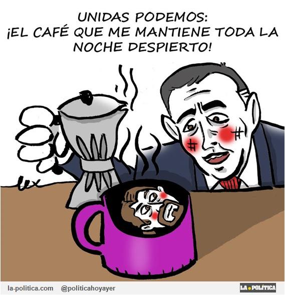 UNIDAS PODEMOS: ¡El café que me mantiene toda la noche despierto! (Viñeta de Lex))