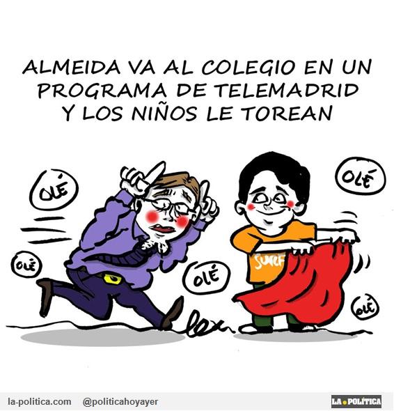 Almeida va al colegio en un programa de Telemadrid y los niños le torean. (Viñeta de Lex)