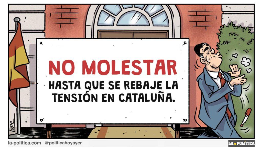 NO MOLESTAR Hasta que se rebaje la tensión en Cataluña. (Viñeta de Lope)