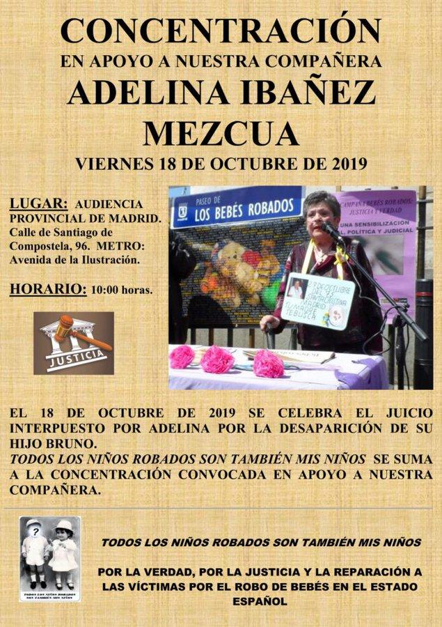 Convocatoria de apoyo a Adelina Ibáñez. Bebés Robados
