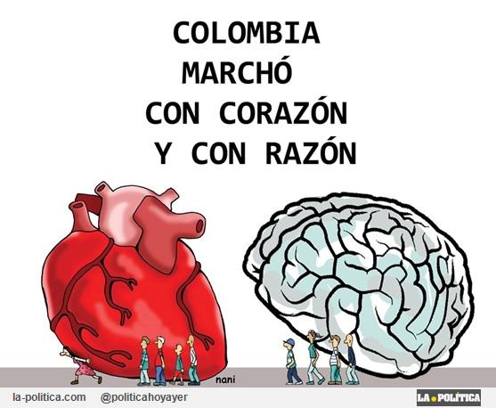 Colombia marchó con corazón y con razón. (Viñeta Nani)