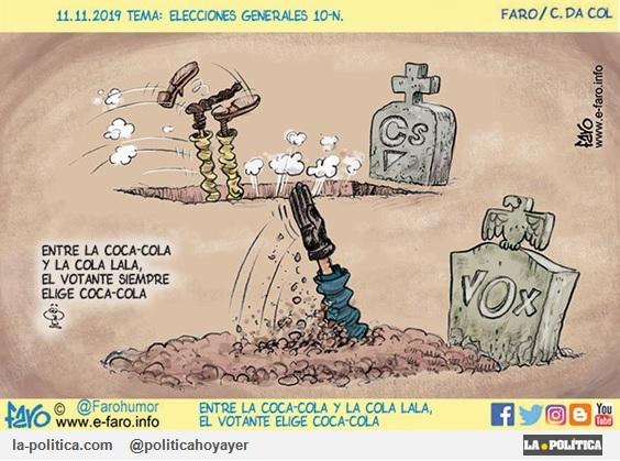 ELECCIONES GENERALES 2019. Entre la Coca-Cola y la Cola Lala, el votante siempre elige Coca-Cola. (Viñeta de Faro)