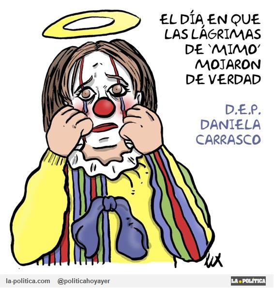 """El día en que las lágrimas de """"Mimo"""" mojaron de verdad. D.E.P Daniela Carrasco. (Viñeta de Lex)"""