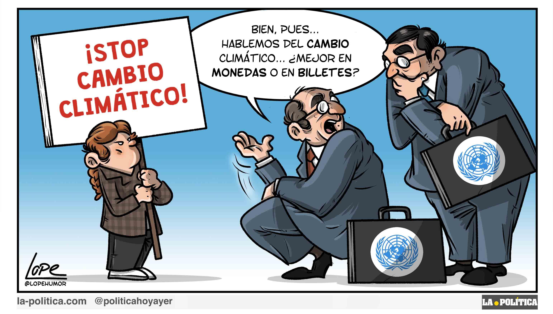 ¡STOP CAMBIO CLIMÁTICO! - Bien pues... Hablemos del Cambio Climático... ¿Mejor en monedas o en billetes? (Viñeta de Lope)