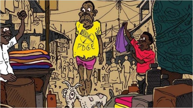 """Ilustración del cómic """"La pesadilla de Obi"""" de Ramón Nzé Esono"""