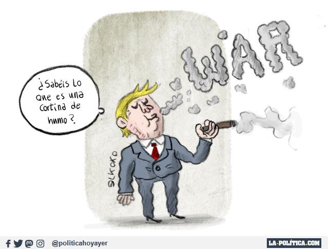 WAR. - ¿Sabéis lo que es una cortina de humo? (Viñeta de Elkoko)