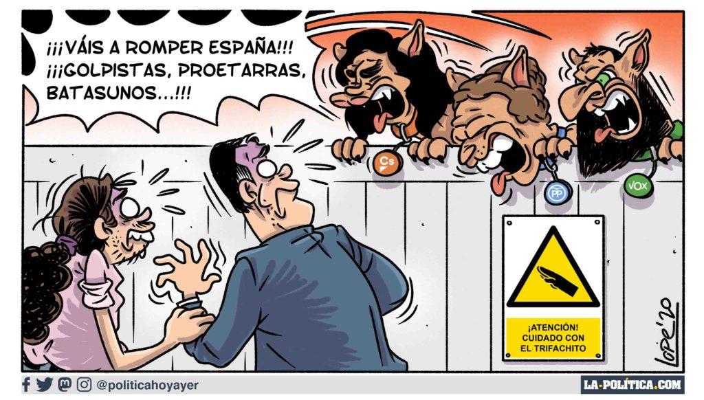 ¡ATENCIÓN CUIDADO CON EL TRIFACHITO! ¡¡¡Váis a romper España!!! ¡¡¡Golpistas, proetarras, batasunos...!!! (Viñeta de Lope)